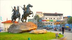 Phnom penh, cambodia - 29 dec 2013: techo meas and techo yot statues on preah Stock Footage