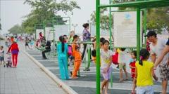 Phnom penh, cambodia - 29 dec 2013: children and adults involved in sports ri Stock Footage