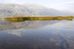 lago del matese lake in the parco del matese regional park, campania, molise, - stock photo