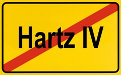 City limit sign, symbolic image for the end of the hartz iv reform Stock Photos