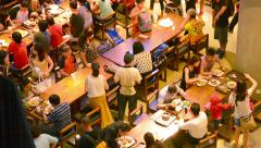 Singapore - circa dec 2013: dining room in marina bay sands complex Stock Footage