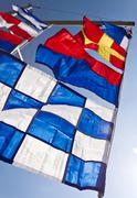 International maritime signal flags, international code of signals Stock Photos