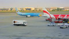 Bangkok, thailand - 14 jan 2014: aircrafts of companies nok air and air asia. Stock Footage