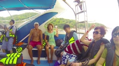 Similans, thailand - circa mar 2014: tourists from different countries go by Stock Footage