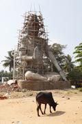 Stock Photo of scaffolded hindu statue, nanjangud, karnataka, south india, india, south asia