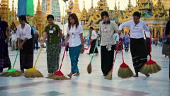 Yangon, myanmar - 03 jan 2014: shwedagon pagoda have to cleaning in the eveni Stock Footage