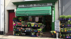 Fruit and flower shop front, beaumaris, anglesey, wales, uk Stock Footage
