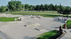 Aerial view of a local skateboard park. Stock Footage