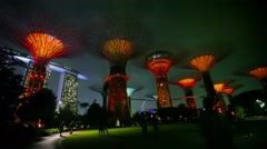 singapore - circa dec 2013: gardens by the bay at hight. supertrees are tree- - stock footage