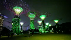 Singapore - circa dec 2013: gardens by the bay at hight. light and music show Stock Footage