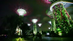 Singapore - circa dec 2013: gardens by the bay at hight. glowing super-trees Stock Footage