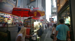 Times Square New York City Food Vendor Cart NYC Slow Motion Smoke Stock Footage