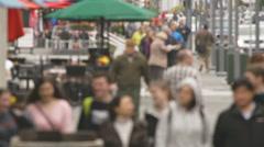 People on City Sidewalk High Angle Blur Stock Footage
