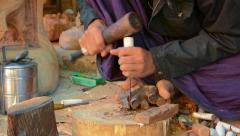 Bagan, myanmar - circa jan 2014: work on making souvenirs from palm wood Stock Footage