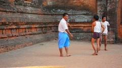 Bagan, myanmar - circa jan 2014: people play the traditional burmese game chi Stock Footage