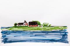 Holm in the world natural heritage, schlewig holstein wadden sea, schleswig-h Stock Illustration