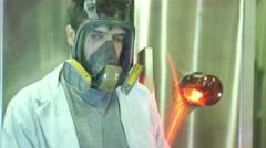 Scientist loading zone biohazard gas Stock Footage