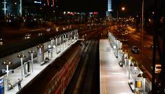 Hashalom Train Station and Ayalon Highway At Night - Israel Stock Footage