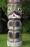 Indian totem pole, tadoussac, canada Stock Photos