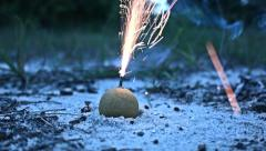 Small Orange Smoke Bomb Firework Close Up - stock footage
