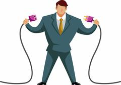 businessman connecting plug and socket, illustration - stock illustration