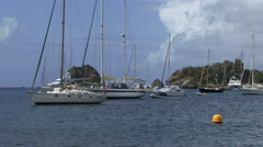 St Bart harbor and yachts on the sea caribbean Stock Footage