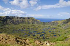 Volcanic landscape, easter island, chile, south america Stock Photos