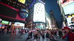 Super Mario Elmo Times Square Crowded New York City Night NYC USA Slow Motion Stock Footage