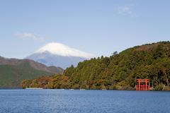 lake ashi, or hakone lake, ashinoko lake, mount fuji at back, japan, asia - stock photo
