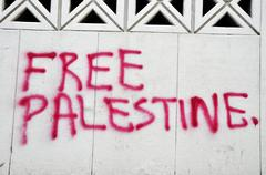 Free palestine graffiti on a wall in downtown beirut, lebanon, middle east, a Stock Photos