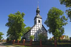 Historic timber-framed church in ahlbeck, ahlbecker dorfkirche, build in 1754 Stock Photos