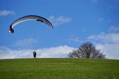 Paraglider taking off, ueberlingen, lake constance, baden-wuerttemberg, germa Kuvituskuvat