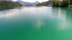 Flying over lake bled, slovenia Stock Footage