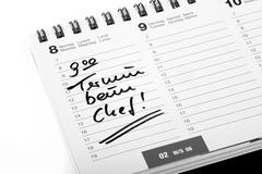 """Entry """"termin beim chef"""", appointment with the boss, in a diary Stock Photos"""