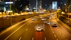 Tel Aviv Traffic At Night Stock Footage