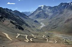 winding road in the andes near mendoza, argentina, south america - stock photo