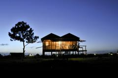 Stock Photo of stilted house in bilwi in the last evening light, nicaragua, central america
