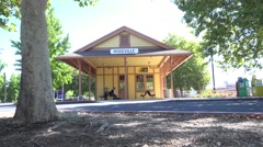 Bus, train depot Stock Footage