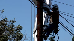 Construction electrician working power pole people lifestyle professional Stock Footage
