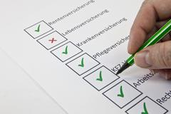 assessment of personal insurance benefits, pensions insurance, life insurance - stock photo