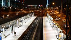 Hashalom Train Station At Night - Israel Stock Footage