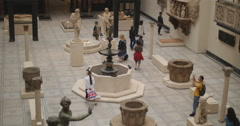 Tourists walk through V&A in London 4K Stock Footage