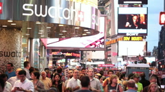Swatch Store in Crowded Times Square New York City NYC USA Slow Motion Stock Footage
