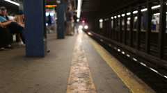 MTA Subway Train Pulling into Platform in New York City NYC USA Slow Motion Stock Footage
