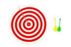 2 dart green and yellow color and 1 target - stock photo
