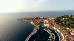 Flying over the city of piran in slovenia Stock Footage