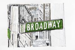 New york, broadway street sign, drawing, artist gerhard kraus, kriftel, germa Stock Illustration