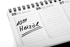 """Stock Photo of entry """"heizoel"""", fuel oil, in a diary"""