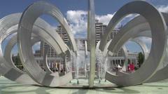 Unique City Fountain Stock Footage