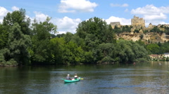 Hillside town of Beynac as seen from the Dordogne river - Beynac France Stock Footage